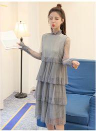 Wholesale Ladies See Through Dresses - 2017 New Spring Korean Fashion Women Gauze Dress Ladies Long Sleeve Ruffle Elegant See Through Mandarin Collar Long Lace Dresses