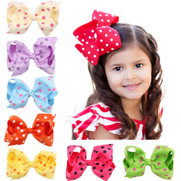 Wholesale Toddler Hair Barrettes - Large Polka Dot Spring Hair Bows, Single Boutique 4 inch polka dot hairbows in Apple Green, Orange, Red and Pink, Toddler Hair bow set.