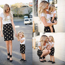 Wholesale Mother Baby Dresses Set - Hot Sale Tshirt+ Bodycon Dress Mom And Daughter Sets Dots Clothes Mother Baby Vestidos Family Matching Clothes