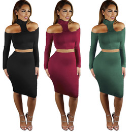 Wholesale Two Piece Bodycon Pencil Skirt - Women Two Piece Set Halter Top and Pencil Skirt Knee length sexy club bodycon bandage dresses