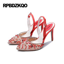 Wholesale China Shoes Sandal - Red Lace High Heels 2017 Summer Sandals Scarpin Extreme China Slingback Crystal Shoes Women Pumps Pointed Toe 4 34 Small Size