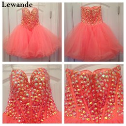 Wholesale Real Hollywood - Hollywood Star Beaded Sweetheart Cute Homecoming Dress Short Sweet 16 Strapless Red Carpet Celebrity Gown A Line Tulle Skirt Lewande 21101