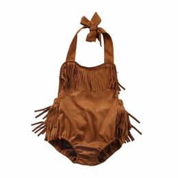 Wholesale Halter Neck Baby - Ins 2017 Summer New Baby Girl Bodysuit Brown Tassels Halter Sleeveless Backless Overalls Toddler Clothing 70301