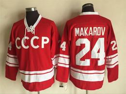 Tamanho 56 camisolas on-line-Novo Hóquei Jerseys CCCP # 24 Makarov Jersey Cor Vermelha All Star Vintage CCM tamanho 48-56 Ordem Mix Todos Costurados Jerseys