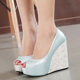 Wholesale Cheap Women Wedges - Newest Material Joining Peep Toe 4cm High platform wedge heel shoes Color Bump Cheap Designer Shoes