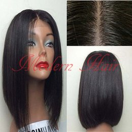 Wholesale 26 Inch Straight Wigs - Middle Parting Heat Resistant Hair Cheap Synthetic Short Bob Wigs #1B 12-16 Inch Silky Straight Synthetic Lace Front Wig Full Lace Wigs