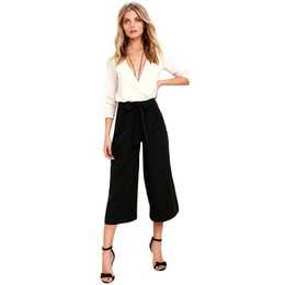 Wholesale Sweet Ladies Fashion - 2017041605 New Fashion Drawstring Pants Women High Waist Female Loose Pants Sweet Style Solid Black Ladies Wide Leg Pants