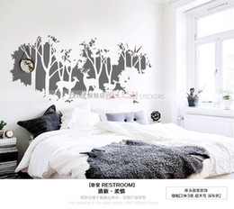 Wholesale Huge Wall Art Tree - edroom decor red Huge Forest Vinyl Wall Decal Forest Night Deers Birds Trees Mural Art Wall Sticker Living Room Bedroom Decorative decora...