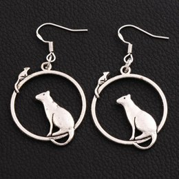 Wholesale Mouse Fishing - Cat Mouse On One Ring Earrings 26x48 mm 925 Silver Fish Ear Hook 30pairs lot Dangle Chandelier Jewelry E032