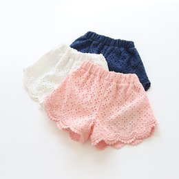 Wholesale Girl Shorts Clothes - 2016 children baby girls summer pure color shorts children's clothes fashion comfortable beautiful cotton lace shorts