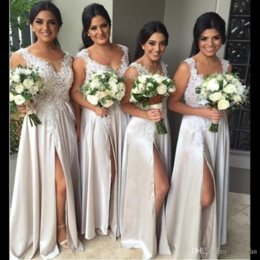 Wholesale Fast Shipping Bridesmaid Dresses - Cheap Fast Shipping Long Bridesmaid Dresses 2017 Illusion Sheer Scoop High Side Split Applique Country Women Dress Gowns Custom Made