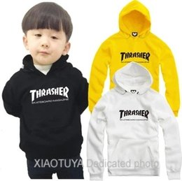 Wholesale Full Height - Free shipping high quality hoodie for 70-150cm height Hoodie kids skateboard Tr letter hoodies Fleece clothing coat 8 color