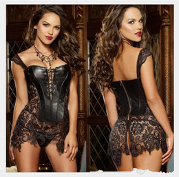 Wholesale Faux Leather Bustier Dress - Steampunk Gothic Faux Leather Lace up Front Bustier Corset Dress Gothic Bustier Corset 2017 Sexy bridal undergarment Corsets and Bustiers
