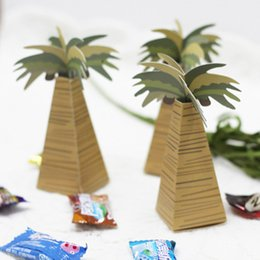 Wholesale Beach Theme Birthday Party - 50pcs Palm Tree Wedding Favor Boxes Beach Theme Party Favor Small Candy Gift Box New Free Shipping