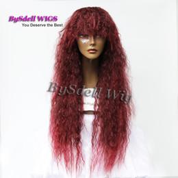 Parrucca borgogna miscela online-Sintetico Mix bordeaux rosso scuro Colore 30 pollici Lunghi ricci crespi Parrucca sintetica per le donne Parrucche per capelli ricci crespi Parrucche per capelli ricci