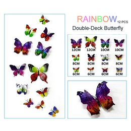 Wholesale Wall Cling Decoration - Butterfly 3d Decoration Wall Stickers 12pc Pvc Removable Wall Stickers 8 colors 35g one set
