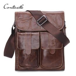 Wholesale Shoulder Bag Cow Men - CONTACT'S Genuine Leather Men bags Fashion Brand Designer Handbags Shoulder Vintage Retro Cow Bags Men Messenger Bags Briefcase