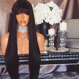 Wholesale Glueless Full Lace Wig Synthetic - Hot! Synthetic Glueless Hair Wigs with bangs Black Silky Straight Hair Full Bangs Synthetic Lace Front Wig For Women