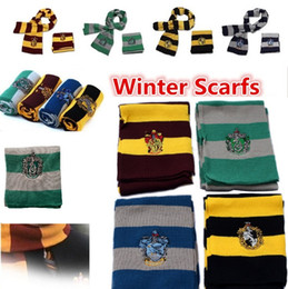 Wholesale Blue Green Scarves - New Harry Potter Scarf Gryffindor School Unisex Knitted Striped Scarfs Gryffindor Scarves Harry Potter Hufflepuff Scarfs Cosplay 4152