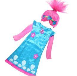 Wholesale Teenage Girl Lace Dresses - Wearing a wig Girls Dress Child Costumes Christmas Costumes For Girls Net Yarn Sleeve Teenage Trolls Girls Clothing Dresses
