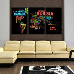 Wholesale Decorative Wall Wording - 3 Pcs Unframed Large HD Wall Decor Painting Canvas Wall Art Words Map Decorative Canvas Painting Prints On Canvas For BedRoom