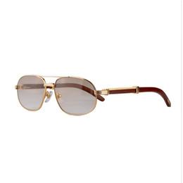 Wholesale Retro Sunglasses High Quality - Wood retro mens Sunglasses Brand Designer High Quality driving gold frame Vintage Sunglasses brands for Men CT736