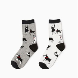 Wholesale High Quality Dog Socks - Wholesale- 2 colors new design high quality cotton autumn winter creative dogs people pattern novelty happy ladies women brand casual socks