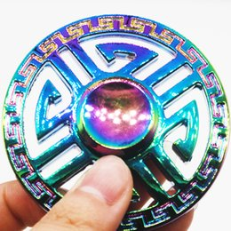 Wholesale Mazes Kids - Rainbow Colorful Maze Tri-spinner Fidget Spinner Metal Hand Spinner Steel Bearing Educational Toys Handspinner Finger Toy Spinning
