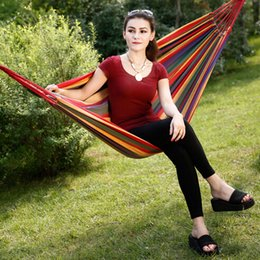 Canada Vente en gros - Cheap Price Portable Outdoor Garden Hamac Hang BED Travel Camping Swing Canvas Stripe Livraison gratuite free hanging hammocks promotion Offre