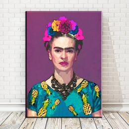Wholesale Bedroom Sheets - ZZ127 FRIDA KAHLO flower self portrait oil art painting on canvas wall pictures for living room bedroom decoration unframed art