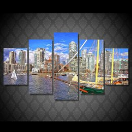 Wholesale 5 Set Framed HD Printed canada gorod pristan korabl Painting Canvas Print room decor print poster picture canvas ny