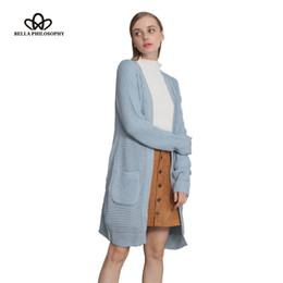 Wholesale Light Sweaters Women - Wholesale-Bella Philosophy autumn winter new black grey dark blue light blue double pockets long causal long sleeve sweater cardigan