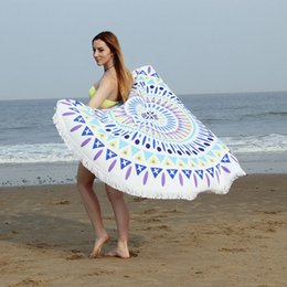 Wholesale Microfiber Cloth Bath - Fine Fiber Round Sandy Microfiber Beach Cloth Tassels Printing Carpet Reactive Sand Bath Towel Picnic Blanket Serviette De Plage