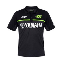 Wholesale Yamaha Blue Motorcycle - motorcycle men 100% Cotton Rossi VR46 short sleeve polo shirt For Moto GP M1 Yamaha Factory Racing Chemise Poloshirt blue black