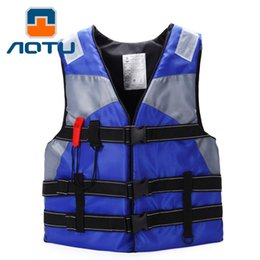 Wholesale men suits for work - Wholesale- Professional Swimwear Working Life Jacket Foam Vest Survival Suit with Whistle for Outdoor Sport Swimming Drifting Fishing Adult