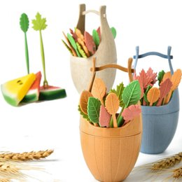 Wholesale fruit forks - Environmental Protective Fruit Snack Dessert Forks Natural Creative Home Party Decoration