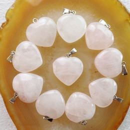 Wholesale Rose Quartz Hearts Bead - 10pcs Rose Quartz Heart Pendant Bead DIY Jewelry Making stone Random send