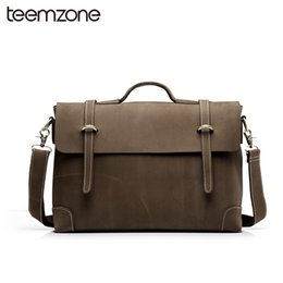 Wholesale Trend Laptop Bags - Wholesale- Trend New Sell Men's Crazy Horse Genuine Leather Vintage Laptop Briefcase Messenger Shoulder Attache Portfolio Tote Bag T0780