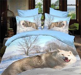 Wholesale Quilt Cover Double Size - Wholesale- (4PCS set) White fox wolf bedding sets 3d wolf quilt donna cover set Home Textile bedding set 3D bed linen double size