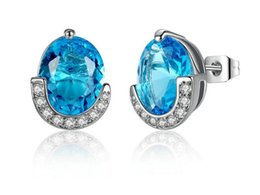 Wholesale Gold Studded Earrings - Platinum-plated diamond studded earrings Earrings Crystal Rhinestone Earrings Charm Wedding Jewelry Size 1.1*1.4CM 2017 Jewelry