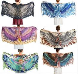 Wholesale Girl Cardigan Blue - 20pcs Hot Fashion 2017 Women Girls Beach Cover Ups Eagle Print Long Sleeve Cardigan Loose Beach Wears Size 150*80 cm QT063