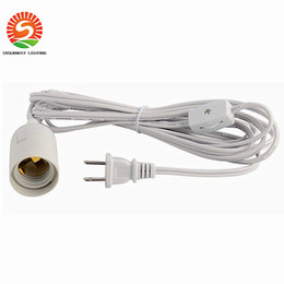 Wholesale E27 Lamp Holder Switch - New arrive 12 feet 3.5m LED bulb power wire US plug E26 E27 lamp holder + gear switch Direct sale DHL free shipping