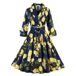 Wholesale Elegant Big Size Dress - S-4XL Women Brand Elegant SPRING Vintage V-Neck Lemon Dresses Retro Floral Print Long Sleeve Big Swing Casual Dress Plus Size dresses