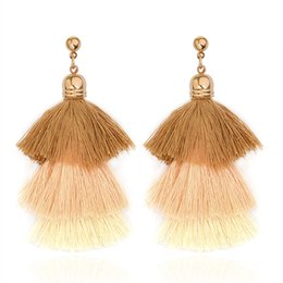 Wholesale Cool Earrings Women - 3 layers tassels earrings Brown Pink Green Red Multicolor Woolen Drop Cool earrings for women girls Fashion Trendy Jewelry for party