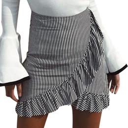 Wholesale Casual Asymmetrical Skirts - 2017 Trendy Fashion Women Casual High Waist Skirts Striped Ruffled Slim Asymmetrical Mini Women's Skirts #606