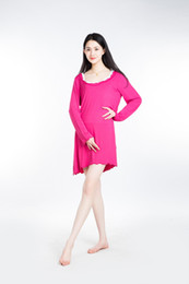 Wholesale Modal Lenzing - 100% Lenzing Modal Rose Red Women Pajama Skirt Lady Pajamas Nightgowns Robe Women's Nightgown Cotton Nightwear Long Sleeve Sleepwear