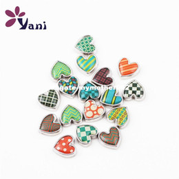 Wholesale Memory Glass Heart Locket - 20PCS Mix Resin Dome Heart Charms Glass Cabochon Floating Locket Charms for Glass Living Memory Locket