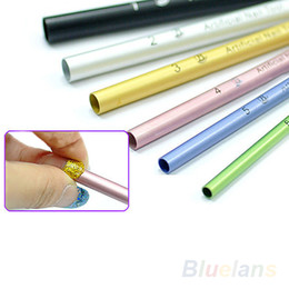 Wholesale C Shape Nail Tips - Wholesale- 2016 Top Quality Hot6pcs C Curve Metal Rod Sticks French Acrylic Nail Art Tips Shaping Stick Manicure Tool 7D6S 8BAD