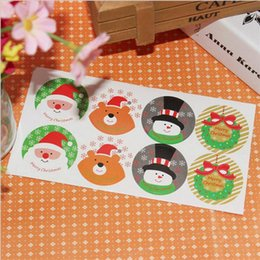 Wholesale Merry Christmas Baking - Wholesale- 80pcs 4 Designs Merry Christmas Santa Snowman Seal Sticker Gift Baking Package
