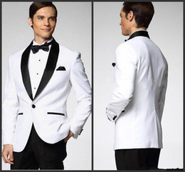 Wholesale Satin Tie Backs - Top Selling White With Black Satin Lapel Groom Tuxedos More Style Choose Groomsmen Men Wedding Suits (Jacket+Pants+Bow Tie+Handkerchief) W1